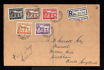 11283-TURKS & CAICOS -REGISTERED FDC.COVER  to HANTS (england)1938.WWII.BRITISH