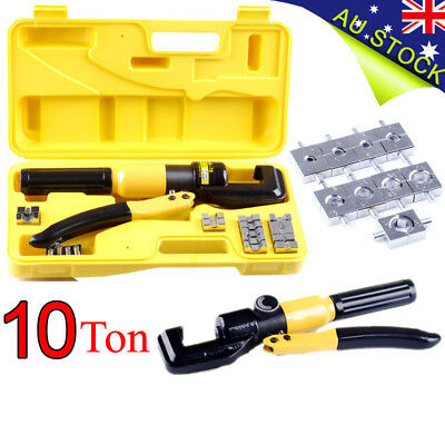 10Ton AU Crimping Tool Kit 9 Die 4mm-70mm Hydraulic Crimper Cable Wire Force NEW