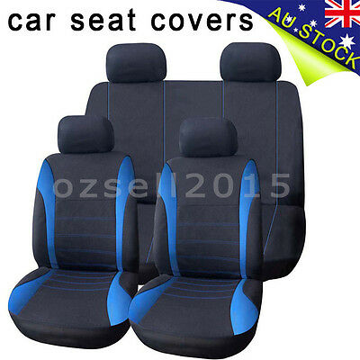 Universal 1 Set Car Seat Cover For Front/Rear Seat Headrest Black Blue