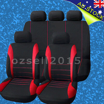 Universal 1 Set Car Seat Cover For Front/Rear Seat Headrest Black Red
