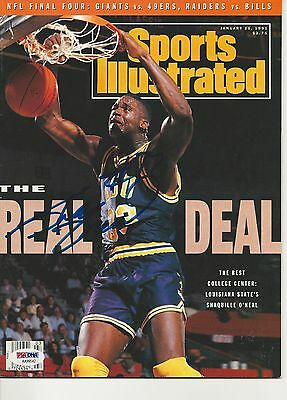SHAQUILLE O'NEAL (LSU) Signed SPORTS ILLUSTRATED with PSA COA (NO Label)