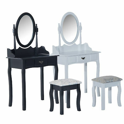 DRESSING TABLE MIRROR Stool Set Makeup Drawer Storage Padded Seat ...