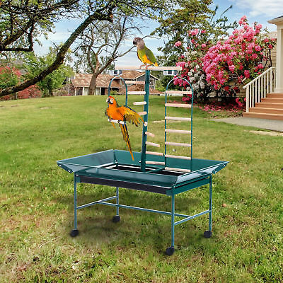 "PawHut 53"" Large Bird Play Stand Parrot Pet Gym Perch w/ Wheel Bowl Ladder Swing"