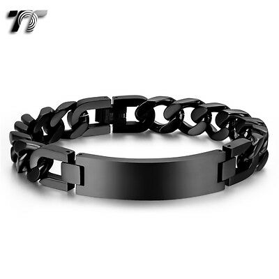 Quality TT 12mm Width Black Stainless Steel Curb Chain ID Bracelet BBR229D NEW