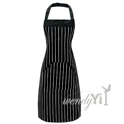 Womens Men's Bib Cooking Chef Kitchen Restaurant Striped Apron Dress With Pocket