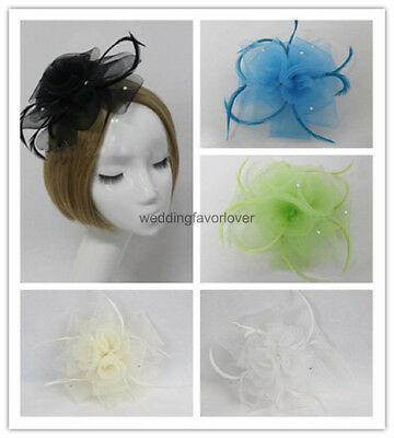 Flower Feather Hair Clip Fascinator Ladies Day Royal Ascot Wedding Head piece
