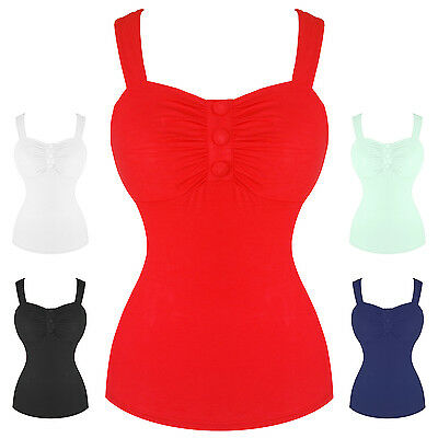Womens Fitted Soft Multiway Low Cut Retro Vintage 1950s Pinup Vest Top UK