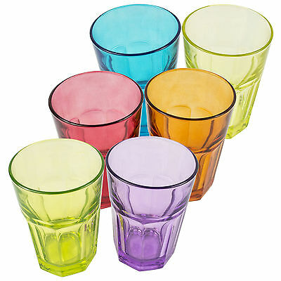 Set Of 6 Marocco Tumblers 350ml Highball Water Juice Coloured Drinking Glasses