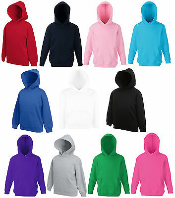 Kids Hoodies Hooded Sweatshirt Top Fruit Of The Loom Boys Girls New