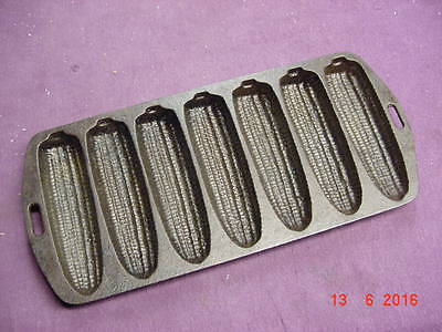 """Vintage Cast Iron Corn Bread Mold Pan Marked #27 Measures 12 1/2"""" X 5 5/8"""""""