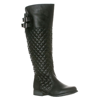 81eb0130a2a Riverberry Women s Lily Quilted Knee-High Low Heel Casual Riding Boots