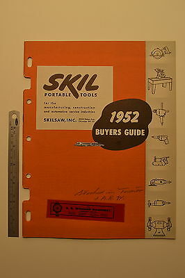 J54 SKIL Portable Tools Buyers Guide 1952 Catalog for Construction Manufacturing