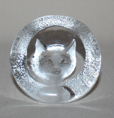 Cat Paperweight Crystal Signed MJ Mats Jonasson Textured Carved Glass 9176