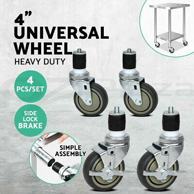 "4""  Swivel Castor Wheels For Stainless Steel Kitchen Bench Trolley Prep Table"