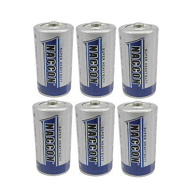 6 pcs C Size Battery 1.5V Carbon Zinc Battery R14 UM2 Super Heavy Duty Toy