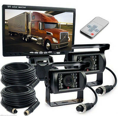 "7"" Monitor Reversing 2 x CCD Rear View Camera Waterproof for Truck Caravan Bus"