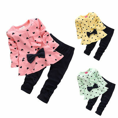 Baby Girls Kids Princess Dress Tops + Leggings 2Pcs Toddler Clothes Set Outfits