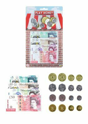 Play Money Sterling Pounds Coins & Notes - Fun Children Party Bag