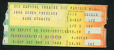 Original 1980 Dire Starits Concert Ticket Stub Capitol Theatre Making Movies