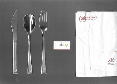 Northwest Airlines 1990's Stainless Steal Flatware Fork/knife/spoon Napkin Coach