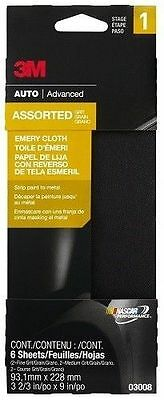 "3M 03008 3-2/3"" x 9"" Emery Cloth with Assorted Grit Sizes (Course, Medium, Fine)"