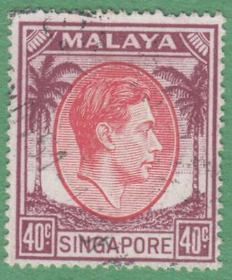 Singapore #16a used 40c George VI 1951 pf 18 cv $20