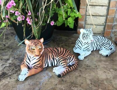 """Pair Of Large Siberian And Bengal Tiger Resting 15.5""""L Statue Home Garden Decor"""