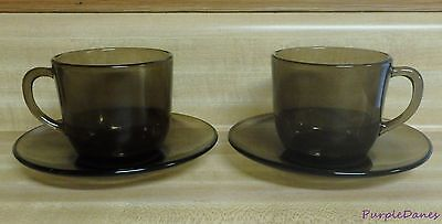 Vintage VERECO FRANCE THREE MUG or CUP & SAUCER SETS Smoky Brown Glass 6 Pieces