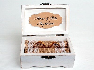 Personalized box  Ring holder Lase Ring Bearer Box Wedding Wedding Ring Holder