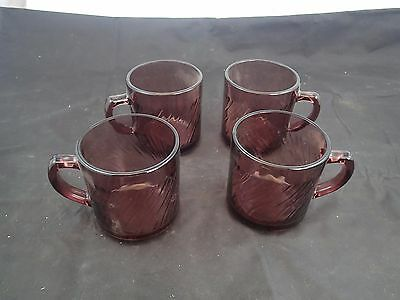 Set Of Four Mexico Cranberry Purple Glass Swirl Coffe Cups Mugs Corning Vision