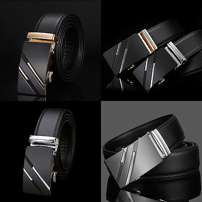 Classic Business Luxury Automatic Buckle Mens Leather Waistband Waist Belt Strap