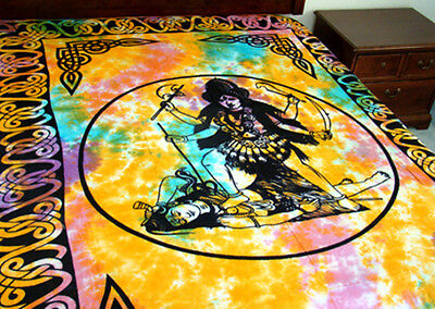 LORD KALI Celtic Knot Tapestry Tie Dye Wall Hanging- Lt Bedspread-Decor 72x108""
