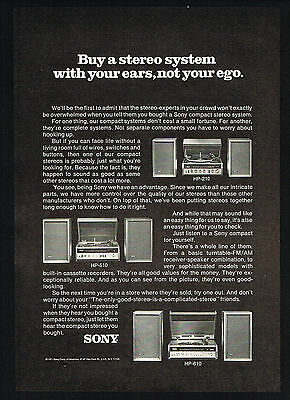 1971 Sony Compact Stereo System 3 Models Hp-210 510 610 Vintage Print Ad