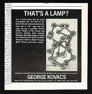 1971 George Kovacs Sculpture That's A Lamp Photo Vintage Print Ad
