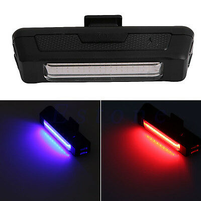 Rechargeable USB COB Bicycle Bike Front Rear 5 Modes Tail LED Light Lamp