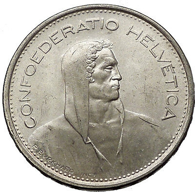 1966 Switzerland Founding HERO WILLIAM TELL 5 Francs European Silver Coin i56596