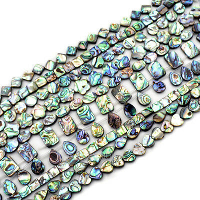 """Natural Abalone Shell Gemstones Coin Square Rectangle Oval Beads Pendant 7.5"""""""