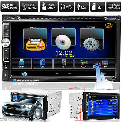 "7"" Double2 Din Bluetooth Car Stereo CD DVD Player Touchscreen AM/FM/USB/SD Audio"