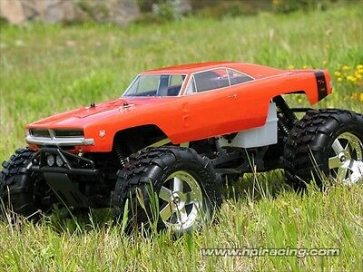 Hpi 7184 1969 Dodge Charger Body [Clear 1/8Th Monster Truck Body Shells] New!