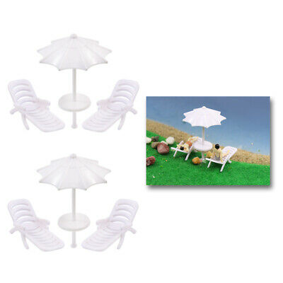 TYS21050 2 Sets Parasols Sun Loungers Deck Chairs Bench Settee 1:50 Model Train