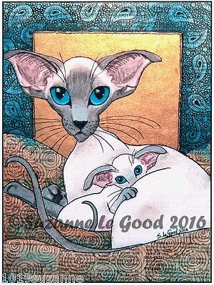 Ltd Edit Siamese Cat & Kitten Print From Original Painting By Suzanne Le Good
