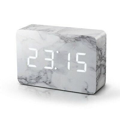 Gingko Brick Marble Effect Sound Activated Click Alarm Clock Bedside Clocks Gift