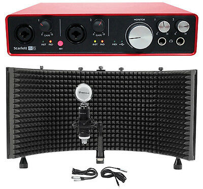 Focusrite SCARLETT 6I6 2ndGen USB Audio Recording Interface+Condenser Mic+Shield