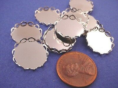 silver tone  Round Lace Edge Bezel Cups 15mm - 12 Pieces