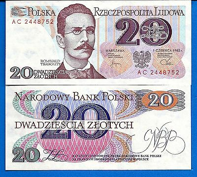 Poland P-149 20 Zlotych Year 1982 Uncirculated Banknote