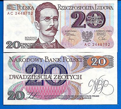Poland P-149 20 Zlotych Year 1982  Uncirculated FREE SHIPPING