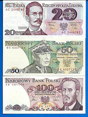 Poland P-142,143,149 20,50,100 Zlotych Year 1975-88 Uncirculated Set # 5