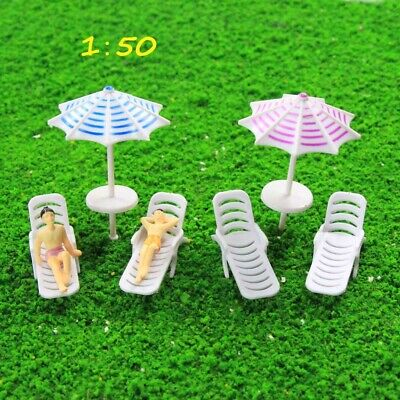 TYS24050 2 Sets Parasols Sun Loungers Deck Chairs Bench Settee 1:50 Model Train