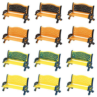 ZY33032 12pcs Model Train Platform Park Street Seats Bench Chair Settee 1:32 G O