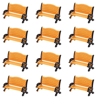ZY33032OO 12pc Model Train Platform Park Street Seat Bench Chair Settee 1:32 GO